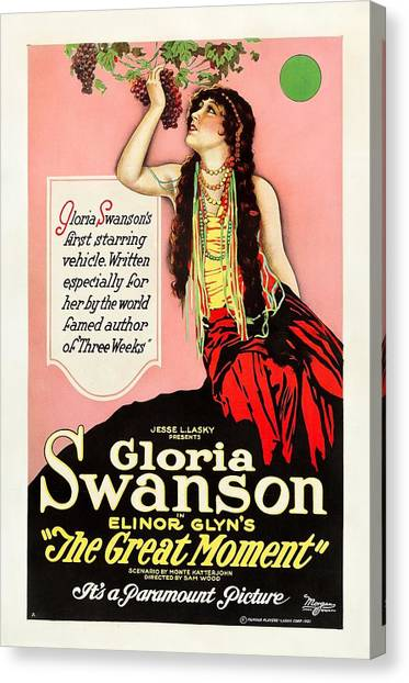 Gloria Swanson Canvas Print - Gloria Swanson In The Great Moment 1921 by Mountain Dreams