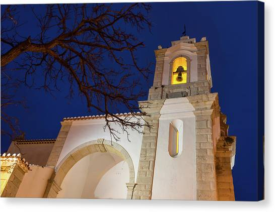 Midnite Canvas Print - Gloriously Lit Blue Hour - Igreja De Santo Antonio In Lagos Portugal by Georgia Mizuleva