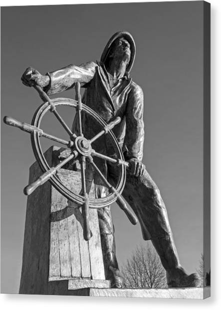 Gloucester Fisherman's Memorial Statue Black And White Canvas Print