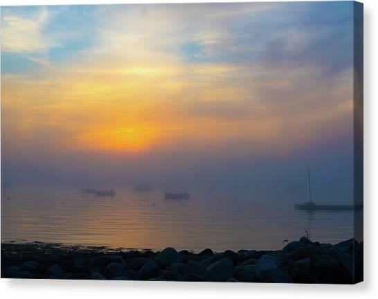 Gloucester Harbor Foggy Sunset Canvas Print