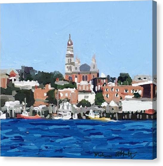 Fishing Boats Canvas Print - Gloucester, Ma City Hall From Inner Harbor by Melissa Abbott