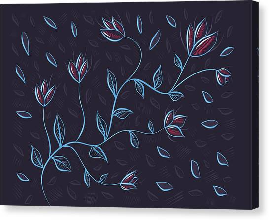 Glowing Blue Abstract Flowers Canvas Print