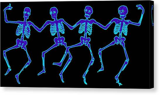 Canvas Print featuring the digital art Glowing Dancing Skeletons by Jennifer Hotai
