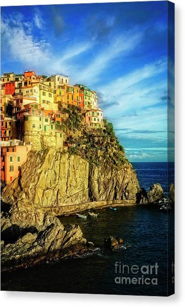 Canvas Print featuring the photograph Glowing Manarola by Scott Kemper