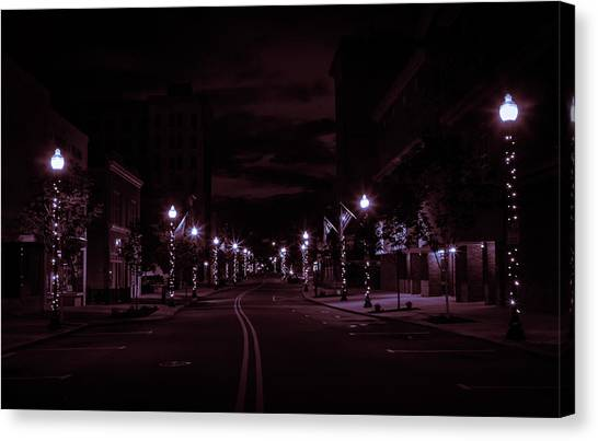 Glowing Streets Downtown Canvas Print