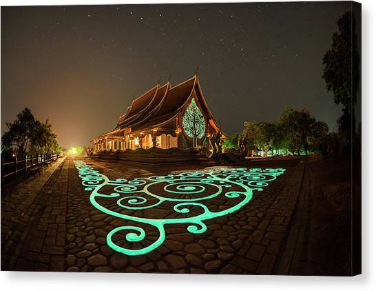 Canvas Print featuring the photograph Glowing Wat Sirintorn Wararam Temple, Ubon by Pradeep Raja Prints