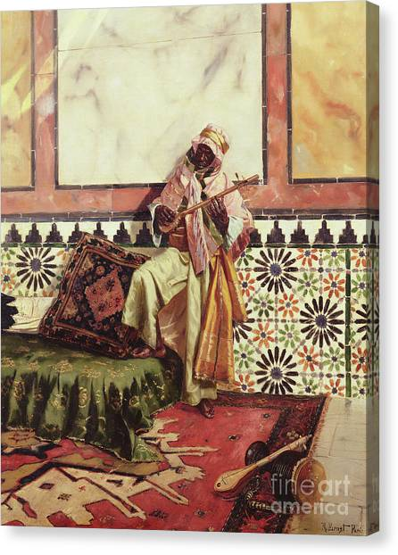 Persians Canvas Print - Gnaoua In A North African Interior by Rudolphe Ernst