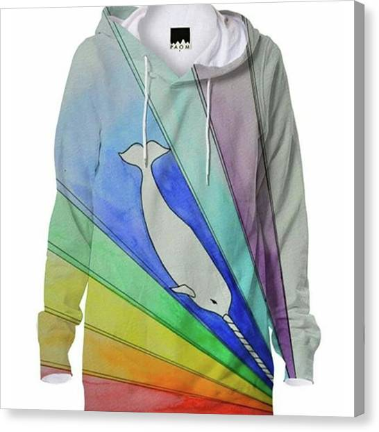 Unicorns Canvas Print - Gnarwhal Diving Into A Sea Of Color by Alec Falle Hamilton