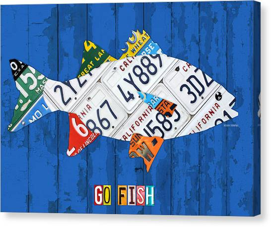 Freshwater Canvas Print - Go Fish Freshwater Bass Recycled Vintage License Plate Art by Design Turnpike