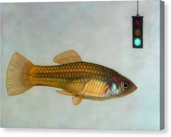 Goldfish Canvas Print - Go Fish by James W Johnson