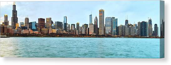 Loyola University Chicago Canvas Print - Go Loyola Downtown Lights Pano by Kevin Eatinger