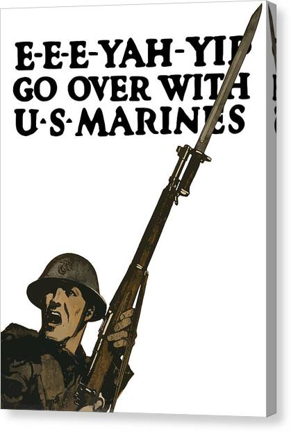 Rifles Canvas Print - Go Over With Us Marines by War Is Hell Store