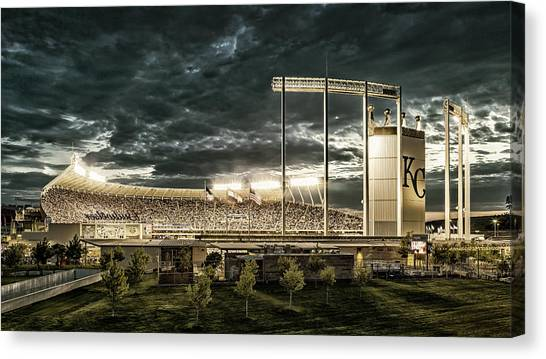 Kansas City Royals Canvas Print - Go Royals - Black And Gold by Tracy Rollins