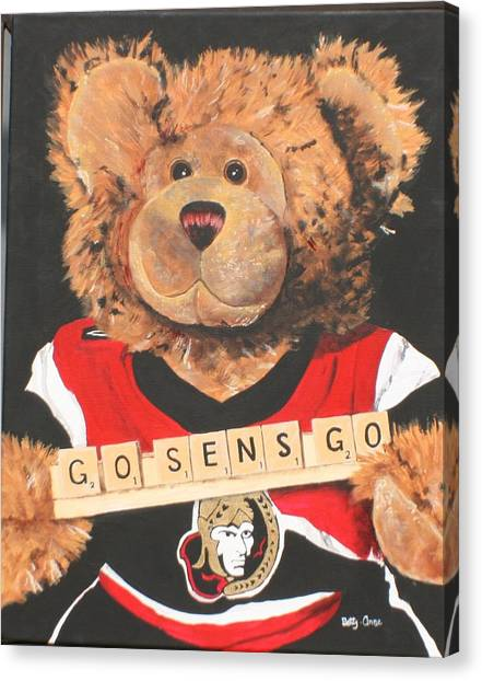 Ottawa Senators Canvas Print - Go Sens Go by Betty-Anne McDonald