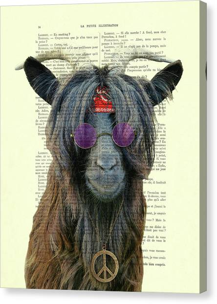 Purple Canvas Print - Goat In Hippie Clothes With Purple Glasses And Peace Necklace by Madame Memento