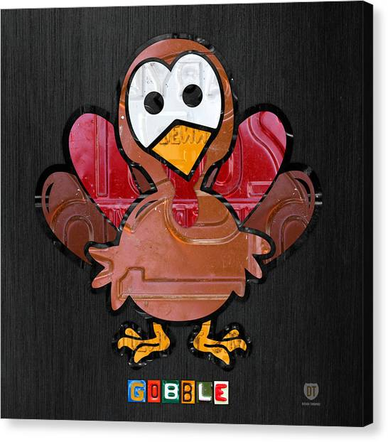 Thanksgiving Canvas Print - Gobble The Turkey Recycled Thanksgiving License Plate Art by Design Turnpike