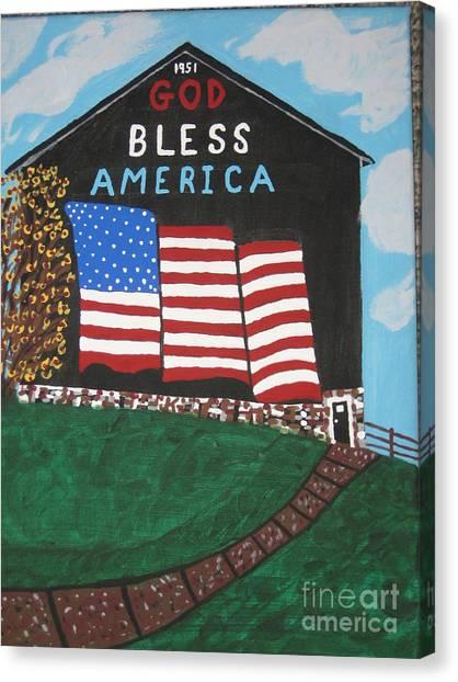 Canvas Print - God Bless America Barn by Jeffrey Koss