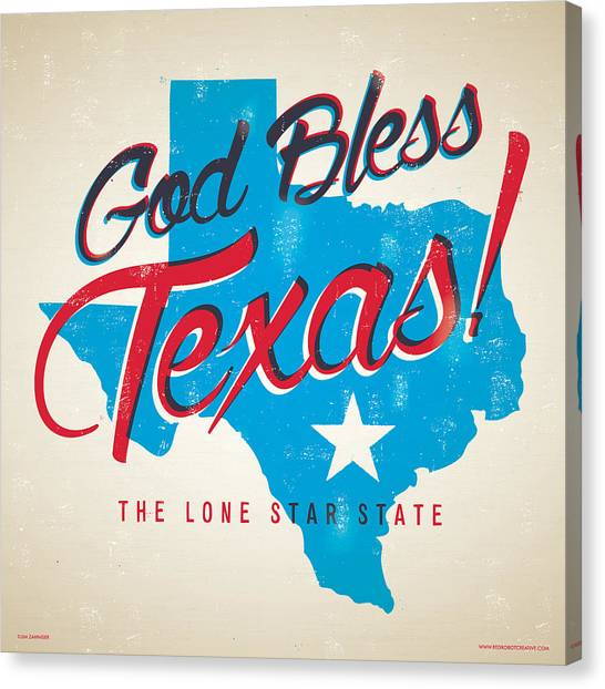 Dallas Stars Canvas Print - God Bless Texas by Jim Zahniser