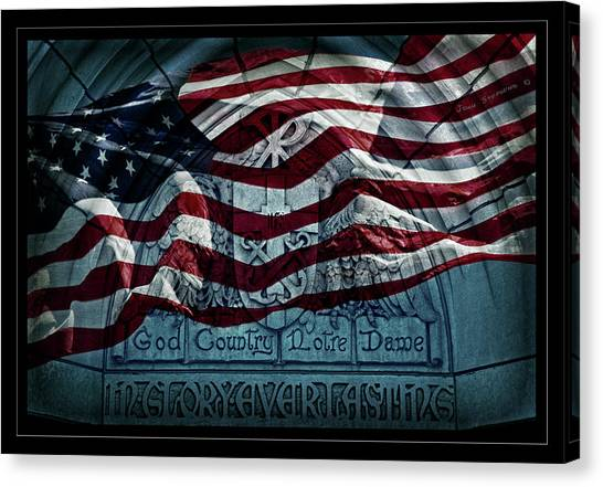 Fighting Canvas Print - God Country Notre Dame American Flag by John Stephens