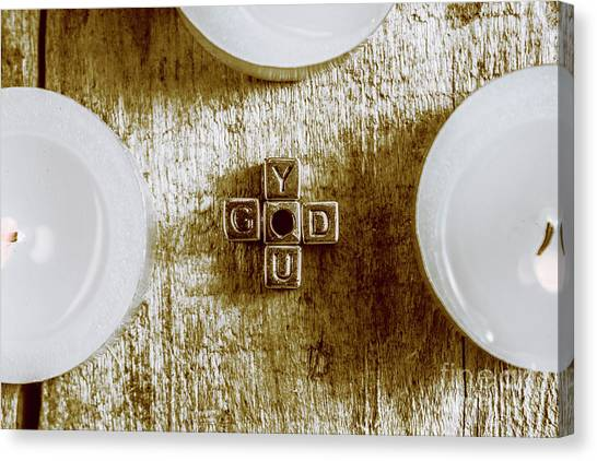 God Canvas Print - God Is You Metal Lettering Typography Near White Candles, Faith  by Jorgo Photography - Wall Art Gallery