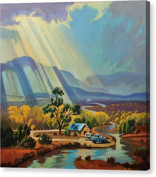 God Rays On A Blue Roof Canvas Print