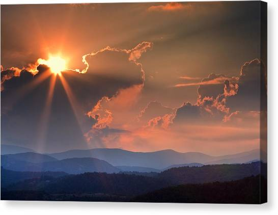 God Rays Over N C  Mountains Canvas Print