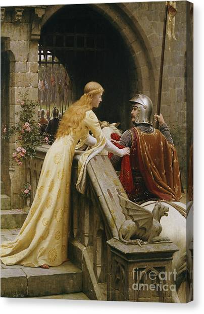 Knights Canvas Print - God Speed by Edmund Blair Leighton