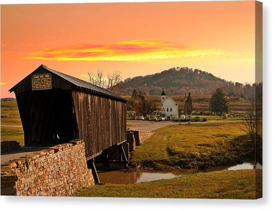 Goddard White Bridge And Church  Canvas Print