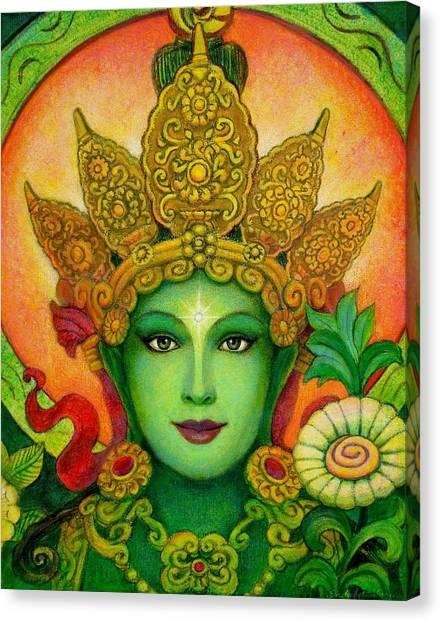 Goddess Green Tara's Face Canvas Print