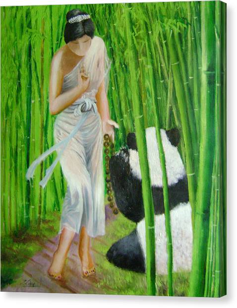 Goddess Of Mercy And Panda Canvas Print by Lian Zhen