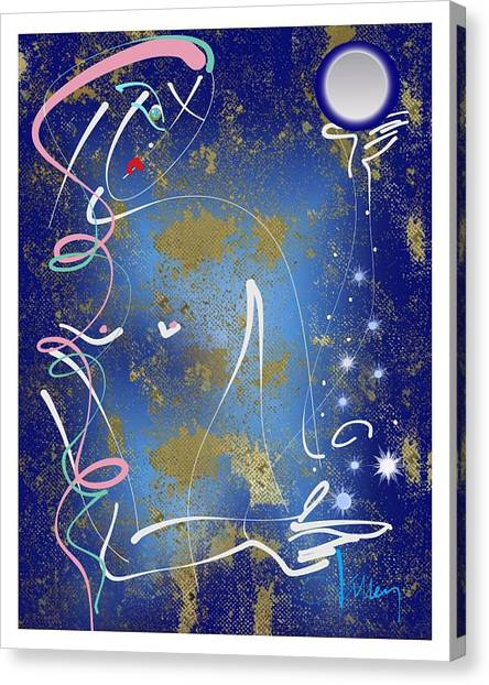 Canvas Print featuring the mixed media Goddess Of The Night Sky by Larry Talley