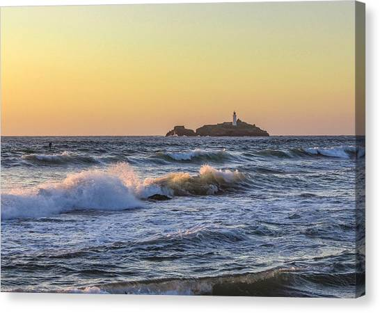 Lighthouses Canvas Print - Godrevy Lighthouse  by Claire Whatley