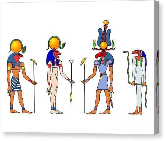Gods And Goddess Of Ancient Egypt Canvas Print
