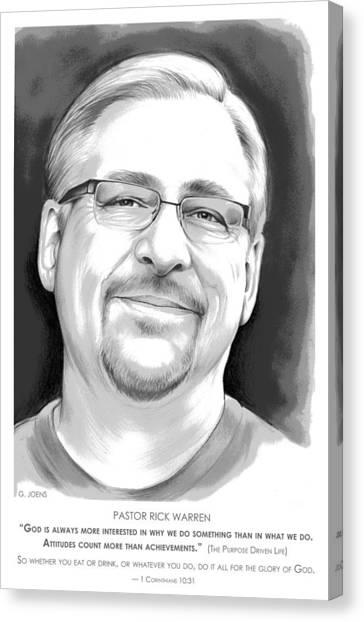 Pastor Canvas Print - Pastor Rick Warren by Greg Joens
