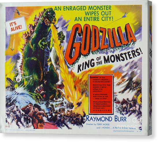 Godzilla King Of The Monsters An Enraged Monster Wipes Out An Entire City Vintage Movie Poster Canvas Print