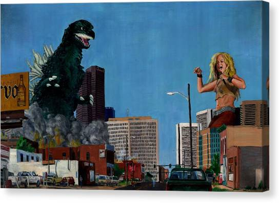 Shakira Canvas Print - Godzilla Versus Shakira by Thomas Weeks