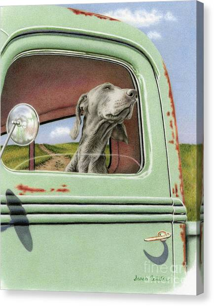 Ford Truck Canvas Print - Goin' For A Ride by Sarah Batalka