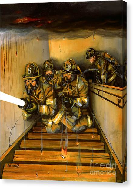 Firefighters Canvas Print - Goin' To Work by Paul Walsh