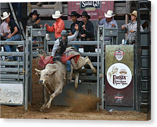 Bull Riding Canvas Print - Going For 8 by Bill Keiran
