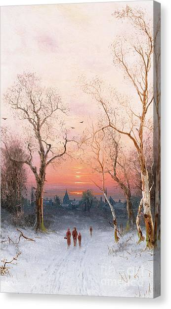 Sundown Canvas Print - Going Home by Nils Hans Christiansen