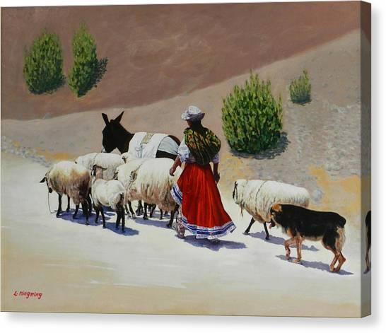 Going Home, Peru Impression Canvas Print