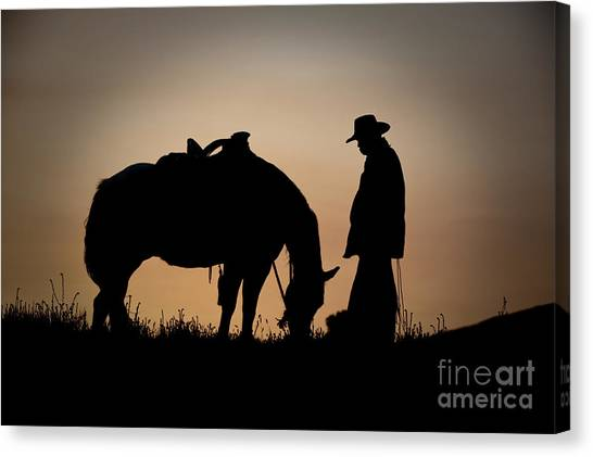 Horses Canvas Print - Going Home by Sandra Bronstein