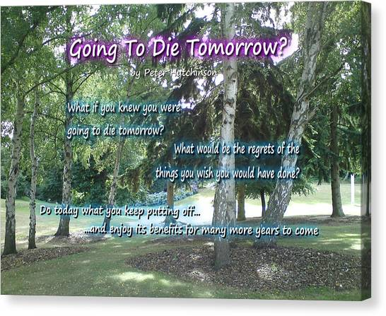 Going To Die Tomorrow? Canvas Print