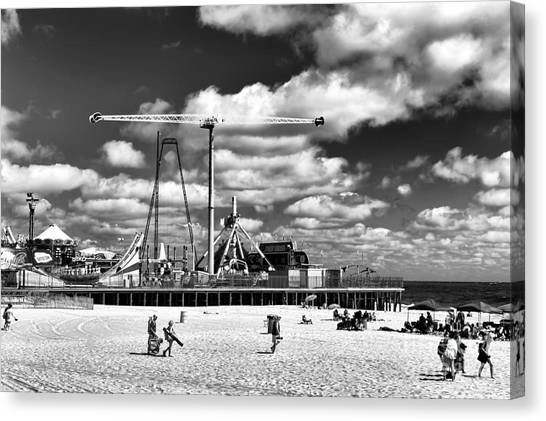 Casino Pier Canvas Print - Going To The Beach Mono by John Rizzuto