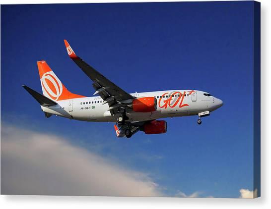 Boeing Canvas Print - Gol Transportes Aereos Boeing 737-76n by Smart Aviation