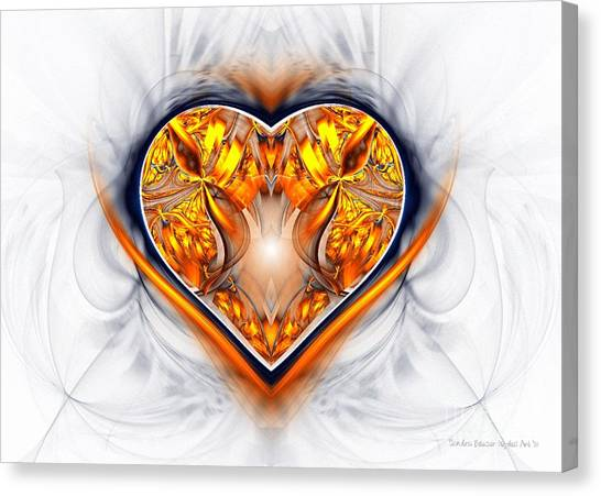 Apophysis Canvas Print - Gold And Sapphire Heart  by Sandra Bauser Digital Art