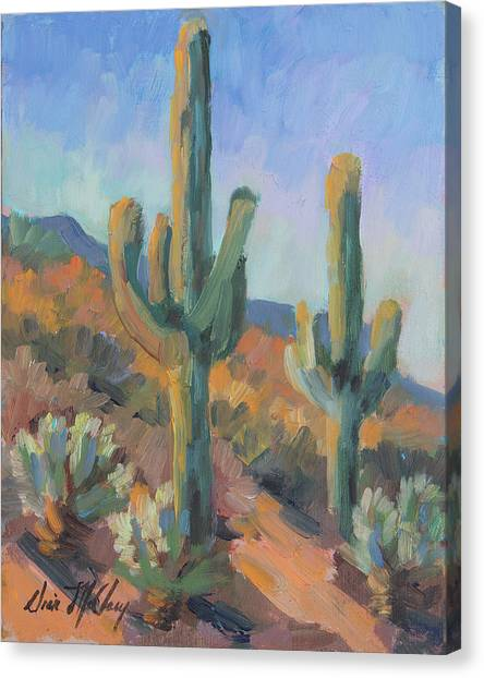 Sonoran Desert Canvas Print - Gold Canyon Saguaros by Diane McClary