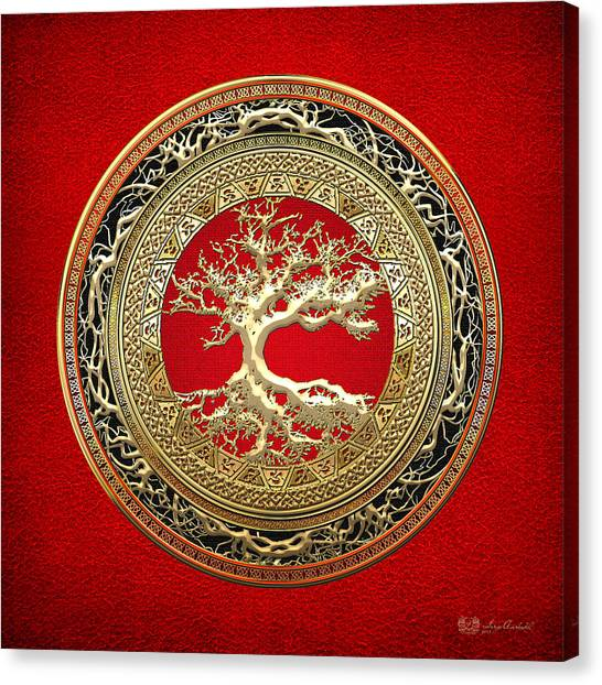 Medieval Art Canvas Print - Gold Celtic Tree Of Life On Red by Serge Averbukh