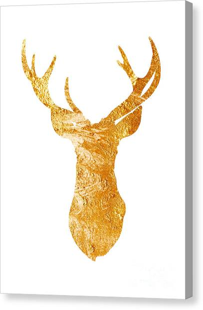Christmas Art Canvas Print - Gold Deer Silhouette Watercolor Art Print by Joanna Szmerdt