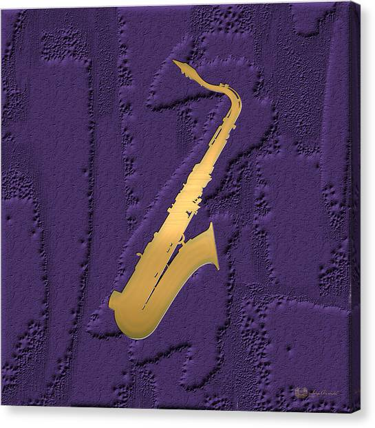 Saxophones Canvas Print - Gold Embossed Saxophone On Purple  by Serge Averbukh